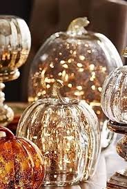 Glass Pumpkins Decor With Micro Lights Twinkle Lights Mercury Glass Pumpkins Fall Decor Autumn