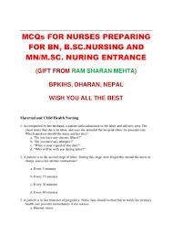 mcqs for entrance test for bn mn msn nursing by rs mehta