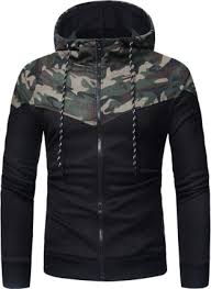 <b>Men Fashion</b> Camouflage <b>Stitching Casual</b> Zipper Hoodie Long ...
