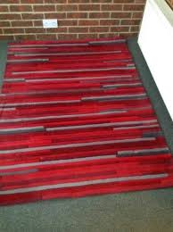 next red stripe rug 120cmx170cm