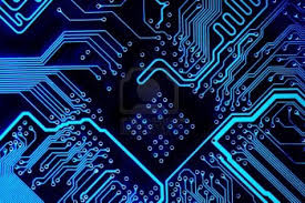 Abstract Blue Computer Circuit Board Close Up For Background