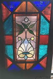 antique 1880 s chicago victorian stained leaded glass window 33 by 22