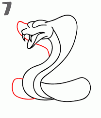 snake drawings step by step. Brilliant Step Step 7 Add The Right Side Of Cobra Head To Snake Drawings By K