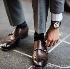 men dress shoes monk strap shoes oxford custom handmade shoes pointed toes genuine leather cowskin color brown double buckles new arrival hy deck shoes boat