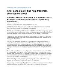 After-school activities help freshmen connect to school