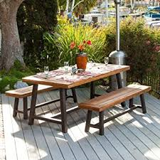garden dining table with benches. bowman wood picnic table style outdoor dining set with bench seats garden benches t
