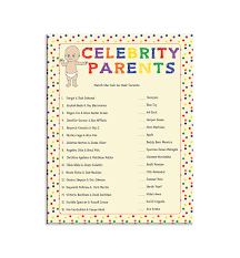 Baby Shower Game Celebrity Parents Couples ShowerFamous Mothers Baby Shower Game