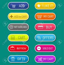 Colorful Website Online Shop Web Buttons Design Vector Illustration
