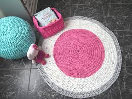 round pink rugs for nursery with regard to crochet rug tee baby play mat inspirations 16