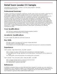 coach resume example by retail team leader cv sample myperfectcv - Leadership  Resume Sample