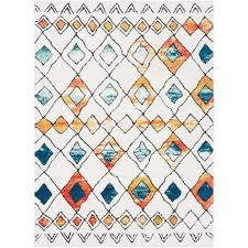 7 x 10 large white blue and orange area rug moroccan rc willey furniture