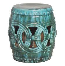 pierced linked green fortune asian ceramic garden seat stool kathy kuo home