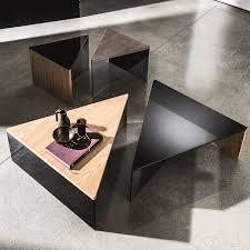 regolo triangular glass and wood coffee table klarity glass furniture