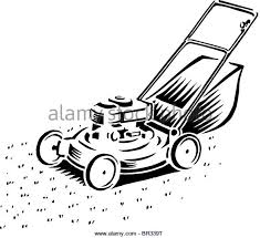 lawnmower drawing. a lawnmower drawn in black and white - stock image drawing e