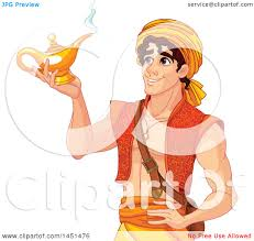 Clipart Graphic Of A Handsome Arabian Man Aladdin Holding A Genie