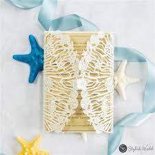 Beach Invitation Shell Starfish Beach Wedding Laser Cut Invitations Swws112 Stylishwedd