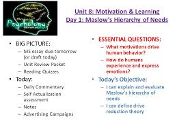 unit motivation learning day maslow theories of  unit 8 motivation learning day 1 maslow s hierarchy of needs big picture
