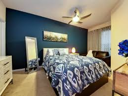 Bedroom:Incredible Bedroom Design With Dark Blue Accent Wall Color And  White Ceiling Fan Light