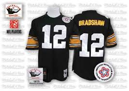 Terry Jersey Nfl Authentic - Black 12 And Ness Throwback Pittsburgh Steelers Home Bradshaw Men's Mitchell