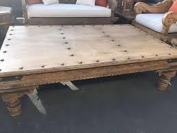 teak tahkat coffee table w natural nailheads woosen furniture regarding nailhead remodel 10
