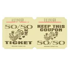 Yellow 50 50 Marquee Raffle Tickets 1000 Roll
