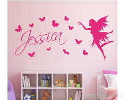 erfly customized name children wall decals baby nursery fairy name wall stickers