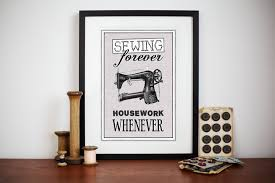 vintage sewing print sewing wall decor craft room decor