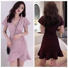 <b>Pink dress temperament</b> new long-sleeved waist skirt | Shopee ...