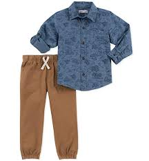 Pants Shirt Kids Headquarters Baby Boys 2 Pieces Shirt Pants Set Rolled Up Sleeves