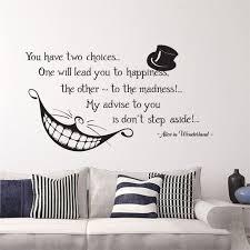 Good Alice In Wonderland Quote Wall Stickers Decals Cat Bedroom Nursery Cartoon  Wallpapers For Kids Room Livingroom