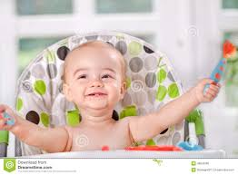 <b>Happy Baby</b> Eats Itself With A <b>Spoon</b> And <b>Fork</b> Stock Photo - Image ...