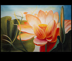 abstract flower painting lotus flower painting asian wall decor