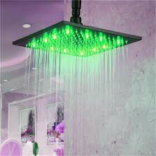 led color 10 inch overhead rainfall shower head with wall mount shower arm oil rubbed bronze