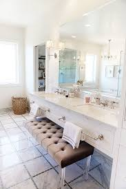 View in gallery Tufted bench with lucite legs for bathroom vanity