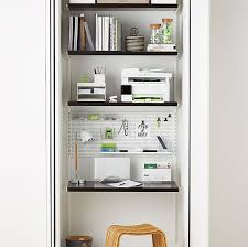 office shelf ideas. White Elfa Décor Office Nook With Walnut Shelves Shelf Ideas
