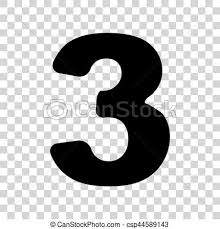 number 3 template number 3 sign design template element black icon on transparent