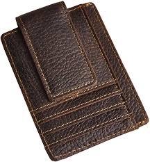 Mens Designer Card Case Mens Leather Designer Best Double Sided Slim Magnetic Money Clip Card Case Holder Organizer Front Pocket Wallet