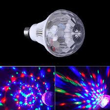 1pcs Colorful Auto Rotating Rgb Crystal Stage Light 6w E27 85 260v Magic Double Balls Dj Party Disco Effect Bulb Lamp