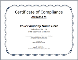 Certificate Of Compliance Template Word Compliance Certificate Template Microsoft Word Templates