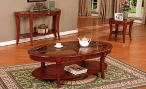 Shop for oval coffee table glass online at target. 4227 3 Pc Cherry Finish Wood Contemporary Style Oval Coffee Table And End Tables With Glass Inserts