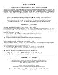 Construction Project Manager Resume Template Stunning Construction Project Manager Resumes Resume Example Project Manager