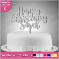 Details About Personalised Happy Christening Day Any Name Cake Topper Decoration Baptism Kids