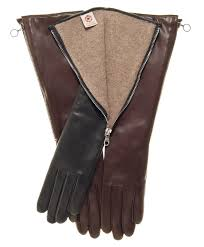 elbow length italian cashmere lined gloves with side zipper