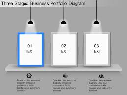 Business Portfolio Template Ppt Three Staged Business Portfolio Diagram Powerpoint