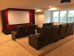 home theater riser. custom built home theater stage and riser - no table behind seats