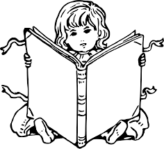 clipart child with book 2 clipart black and white