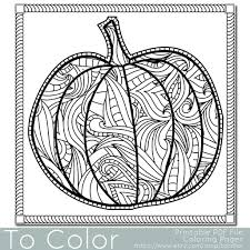 Patterned Pumpkin Coloring Page For Adults
