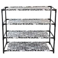 Home Basics 10 Tier Coated Non Woven Shoe Rack Black Shoe Storage Closet Storage Organization The Home Depot 41