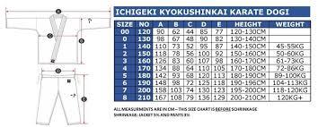 Karate Uniform Size Chart Kyokushin Karate Gi With Ichigeki Embroidery