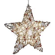 Fensterdeko Weihnachten Metall Stern Rattan Led Braun Rot 40cm